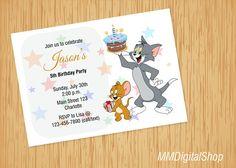 Tom and Jerry Birthday Invitation Tom and Jerry Invite