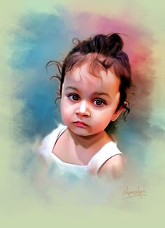 baby portrait Digital Paintings, Digital Art, Baby Painting, Digital Backgrounds, Motorcycle Art, Baby Portraits, Indian Paintings, Pencil Portrait, Girl Pictures