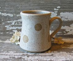 Polka Dot Pottery Mug - White - Shorty Stout Mug - Stoneware - Handmade Pottery Mug - Coffee Cup - Tea