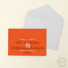 Personalize these bracket thank you cards to match your own style!   Wedding Invitations by CharmCat Stationery & Design