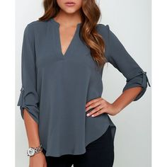 $11.41 Brief V-Neck 3/4 Sleeve Solid Color Chiffon Blouse For Women