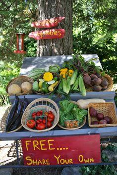 Outside Inn Free Veggie Cart overflowing with Mountain Bounty veggies