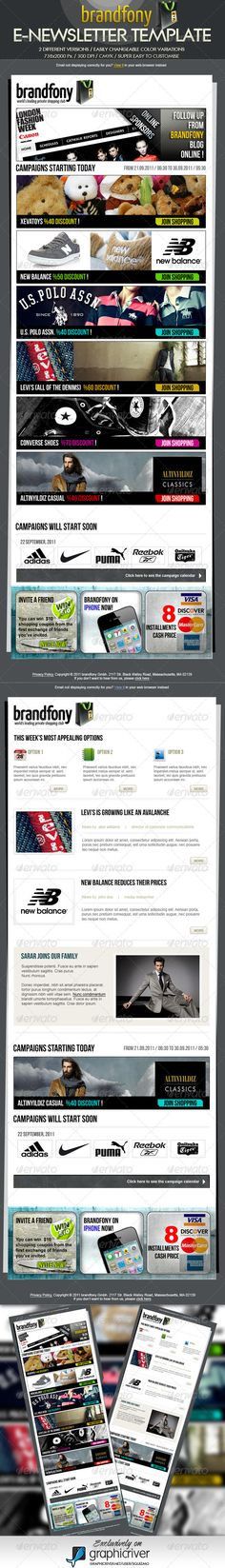 Buy Brandfony E-Newsletter Template by squizmo on GraphicRiver. The template comes in psd format, and you can edit the file in Adobe Photoshop. Layered Photoshop file organized in f. Free Website Templates, Email Templates, Newsletter Templates, Template Web, Email Layout, 404 Pages, Web Design, Graphic Design