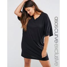 ASOS CURVE Kimono Sleeve T-Shirt Mini Dress ($25) ❤ liked on Polyvore featuring dresses, black, plus size, womens plus dresses, sleeved dresses, cotton dresses, mini dress and v neck mini dress