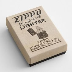 Zippo windproof lighter, vintage, via quince with sugar - matchbox design packaging.