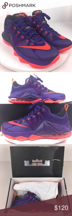 3a795f4cc4428 Nike Lebron James XII 12 Low Purple Crimson Orange Nike Lebron XII Low Court