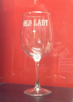 Sons of Anarchy Inspired Old Lady Etched Wine Glass on Etsy, $8.00