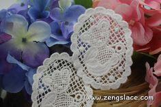 White cotton lace applique, Teddy bear applique, LA-15-1
