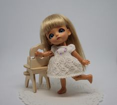 Mini bjd clothes, Lati doll dress for 9.5 cm doll, Hand knitted dress for miniature bjd Lati White, Tiny doll outfit, bjd outfit