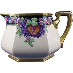 "Bernardaud & Co. (B&Co.) Limoges Pickard Studios ""Purple Grapes & Pomegranates Pattern Pitcher (Signed Rean for Maxwell Rean Klipphahn/c.1918-1919)"