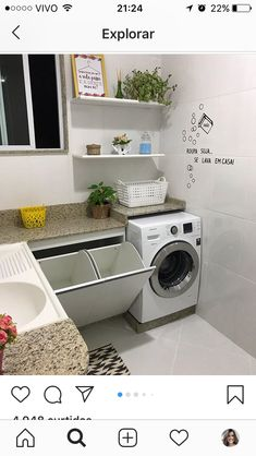 48 functional and stylish laundry room design ideas to inspire 5 Outdoor Laundry Rooms, Modern Laundry Rooms, Laundry In Bathroom, Small Bathroom, Basement Laundry, Cozy Bathroom, Appartement Design Studio, Laundry Room Organization, Laundry Storage