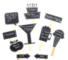 10 Chalkboard Photo Booth Props Speech Bubble Props Beer Mug Champagne Glass Chalk board Photobooth Props Set of 10 Wedding Decoration