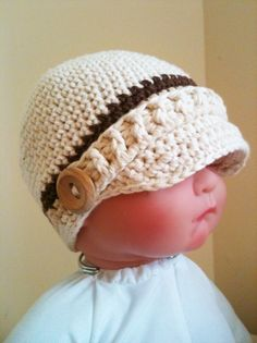0004 - PDF PATTERN for Crocheted Baby Newsboy Hat with Buttons and Ribbed Strap