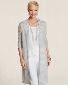Chico's Subtle Zebra Chandler Cardigan #chicos. I love this as a lab coat in the salon!