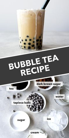 Yes, bubble tea can be made at home! This is a delicious boba tea recipe made with black tea, chewy tapioca balls, and topped with a decadent cream froth. Make bubble tea at home and save money! Milk Tea Recipes, Iced Tea Recipes, Starbucks Recipes, Starbucks Drinks, Coffee Recipes, Dessert Drinks, Yummy Drinks, Healthy Drinks, Desserts