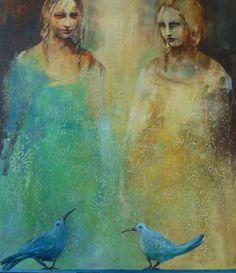 två blå fåglar ~ acrylic ~ by danka jaworska