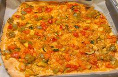 Coca de verduras sin gluten con harina Beiker del Mercadona