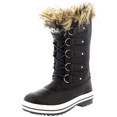 Womens Fur Cuff Lace Up Waterproof Rubber Sole Tall Winter Snow Rain Boots >>> Be sure to check out this awesome product. (This is an Amazon affiliate link)