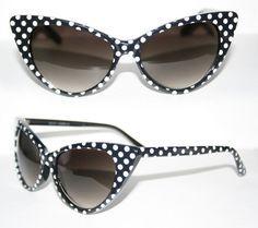 Cat Eye Sonnenbrille Pinup 50er Jahre z. Petticoat Kleid Polka Dots schwarz 296