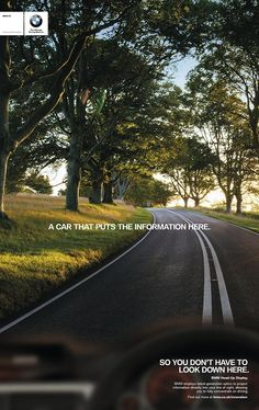 BMW Innovation print ad - Head Up Display - A car that puts the information here