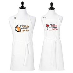 Kiss the Cook Bring Him a Beer Kiss the Cook and Bring Her Wine Aprons for Couples (Beer and Wine)