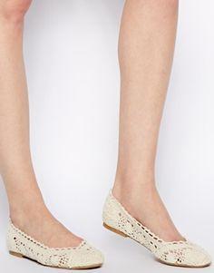 Image 4 ofNew Look Loosen Cream Crochet Ballerina Shoes