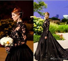 Black Vintage Gothic Style Prom Dresses Long Sleeve High Neck Lace Evening Gowns
