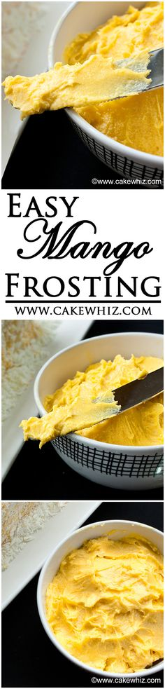 Easy MANGO FROSTING that's very smooth and creamy and has a naturally vibrant yellow color! Pair wonderfully with vanilla cupcakes! From cakewhiz.com