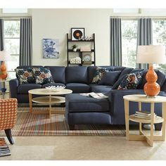 Blue and orange living space