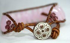Beaded leather wrap bracelet  opaque pink barrel by mvtreasures, $25.00