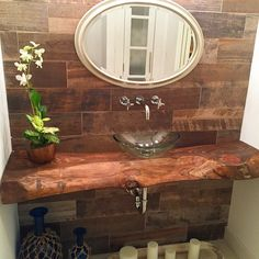 Powder Bath , Hickory Bathroom Top
