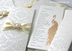 flocked paper, gold embossed peacock (wedding invitation with pocket)