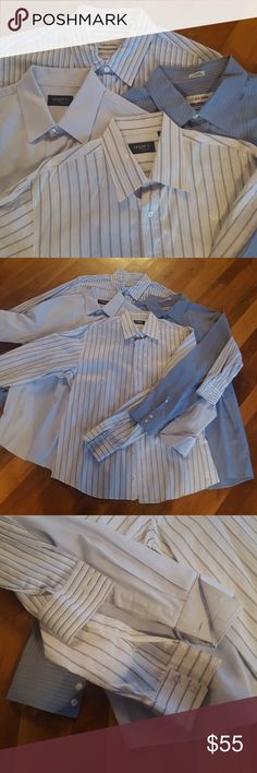 🎁SUPER SHIRT DEAL🎁 All shirts dry-cleaned! No stains no rips no tears no holes. EXCELLENT CONDITION  All size Large / 16 1/5  2x UNGARO 2x CALVIN KLEIN  Look the part and get that promotion you deserve! Ready to wear straight from the box! Calvin Klein Shirts Dress Shirts