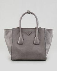 V1QMP Prada Soft Calf Small Twin Pocket Tote Bag, Gray