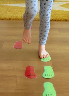 this activity will help children learn the difference between their left and right feet and give them more of a sense of balance.