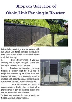 Browse our high quality commercial chain link fence for company security planning & economical options. Visit us now to buy your different fencing design! Fence Options, Fencing Material, Chain Link Fence, Backyard Fences, Tight Budget, The Selection, Houston, Shopping, Alternative