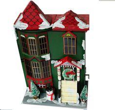 Vintage Enesco Music Box Christmas Brownstone by RustbeltTreasures