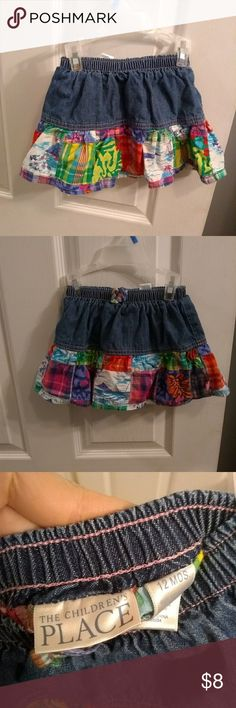 🎆5 for $25🎆Children's Place patches skirt Excellent condition, size 12 months! Take advantage of my🎆5 for $25🎆 deal!! Children's Place Bottoms Skirts