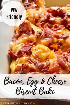 Bacon Egg and Cheese Biscuit Bake tastes just like a fast food favorite. Biscuits mixed with eggs and bacon then topped off with cheese and more bacon! Baked Breakfast Recipes, Breakfast Bake, Breakfast Dishes, Brunch Egg Dishes, Easy Breakfast Casserole Recipes, Best Brunch Recipes, Mexican Breakfast, Breakfast Potatoes, Breakfast Items