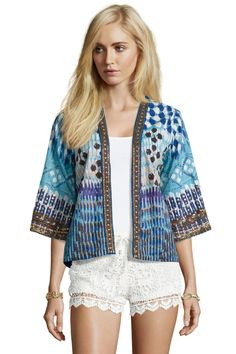 boohoo Boutique Skylar Zig Zag Print Beaded Short Woven Jacket - blue £20.00 by Katellerts