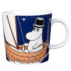 "Moomin Mugs from Arabia – A Complete Overview (2019) 64. Moominpappa dark blue / Muumipappa tummansininen (2014–). The motif comes mainly from the story ""Moomin and Family Life""."