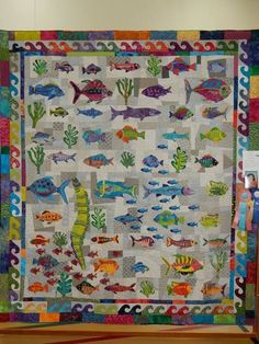 2018 Oppurtunity/raffle quilt for Foothill Quilt Guild Auburn CA called Rainbow Fish