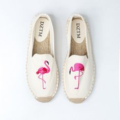 ca7a72144e76 Embroidered flamingo espadrilles for women canvas slip on shoes
