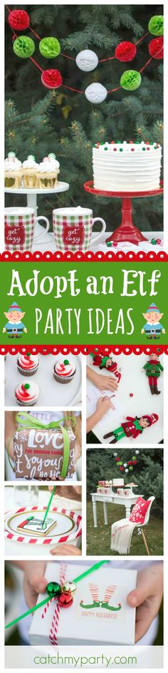 Check out this awesome Adopt an Elf Christmas party. The dessert table and decorations are great!! See more party ideas and share yours at CatchMyParty.com