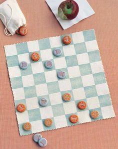 Canvas Checkerboard portable with bottle cap pieces