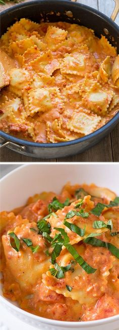 Ravioli with Creamy Sundried Tomato and Basil Sauce – this was unbelievably DELISH! I'm adding this one to the rotation! Pasta Recipes, Dinner Recipes, Cooking Recipes, Basil Sauce, Vegetarian Recipes, Healthy Recipes, Good Food, Yummy Food, Pasta Dishes