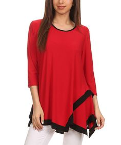 Another great find on #zulily! Red & Black Asymmetric-Hem Tunic #zulilyfinds