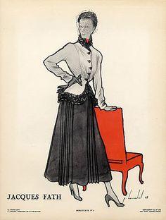 Louchel 1948 Jacques Fath Suit & Veil Hat Fashion Illustration par Pierre Louchel   Hprints.com