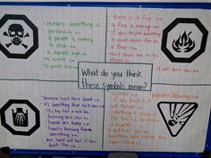 Thinking and Learning in Room learning environmental print- hazard symbols Hazard Symbol, Environmental Print, How To Make Signs, Dramatic Play Centers, Play Centre, Encouragement, Knowledge, Symbols, Student