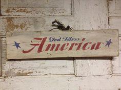 God bless america stenciled sign, primitive stenciled sign, patriotic sign